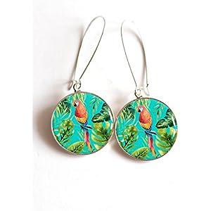 Ohrringe cabochon Vogel Papagei Tropen, der tropisch ist, Palme