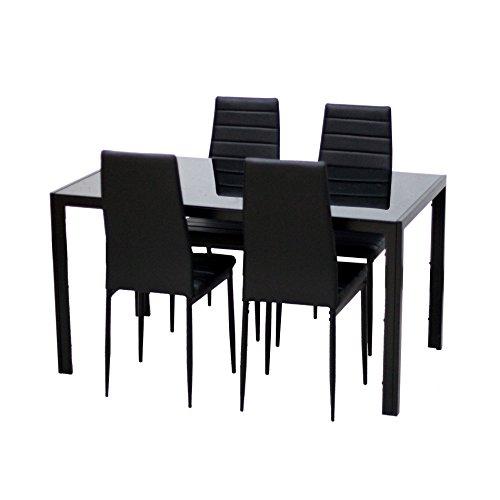 EBS 4er/6er Esstischgruppe Esszimmer Möbel 1 Tisch 4/6 Stühle Schwarz (1 Tisch+ 4Stühle)