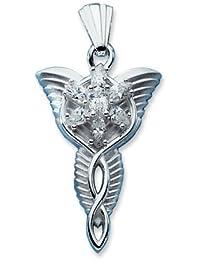 Anhänger Silber Zirkonia Arwens Abendstern klein 40 mm, Anzahl Steine: 7, Breite: 25 mm, Länge: 40 mm