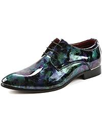 HhGold Zapatos de Cuero de PU de Pintura Abstracta Suave para Hombre 2018 Mocasines con Cordones