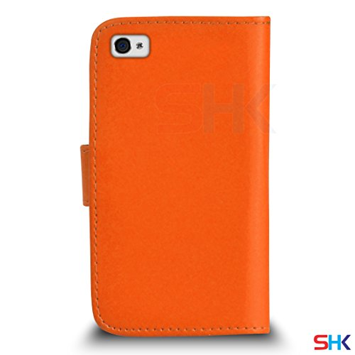 Apple iPhone 4 / 4S Cuir Premium Rose Vif Wallet flip Housse Pouch PAR SHUKAN®, (Rose Vif) Orange