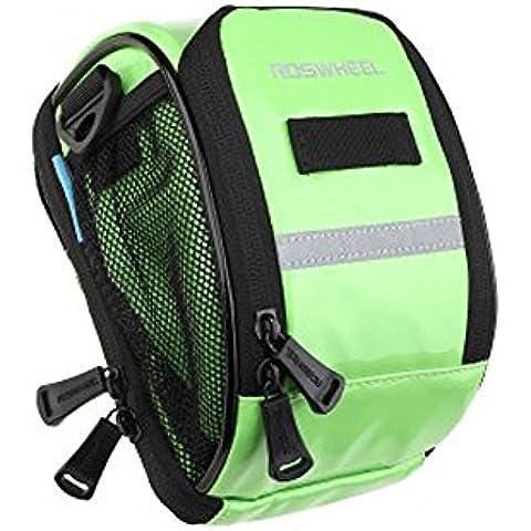 Impermeable Bolsa de Ciclismo Cesta Bolsas para el Manillar Moto Tubo del Frente del Bolso de la Bicicleta Cesto PU con la correa extraíble como el hombro o la mensajero-Bettertol(verde))