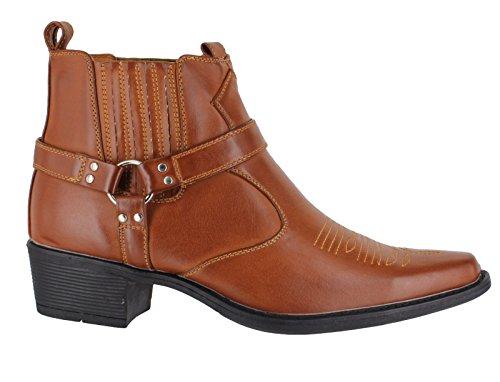 US Brass Eastwood Herren Cowboy Western Cuban Heel Ankle Buckels Slip Schlupfstiefel Hellbraun