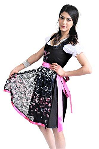 Bavarian Clothes Dirndl Midi Trachtenkleid Kleid 3 TLG. mit Dirndlbluse Schürze Geblümt Rosa Pink Spitzenschürze Wiesn Oktoberfest Gr. 34 -