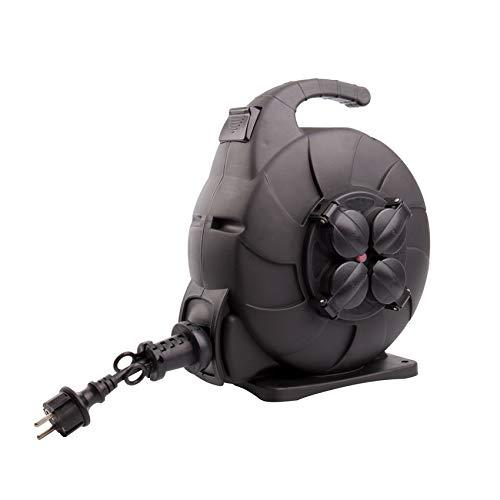 Carrete de Cable Rebobinado Automático 15m IP44 Negro efectoLED