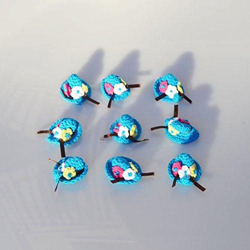 12 Pezzi Accessori Mini Cappello di Lana Fatti A Mano Decorazione Portaconfetti Confezione Bomboniera (BLU)