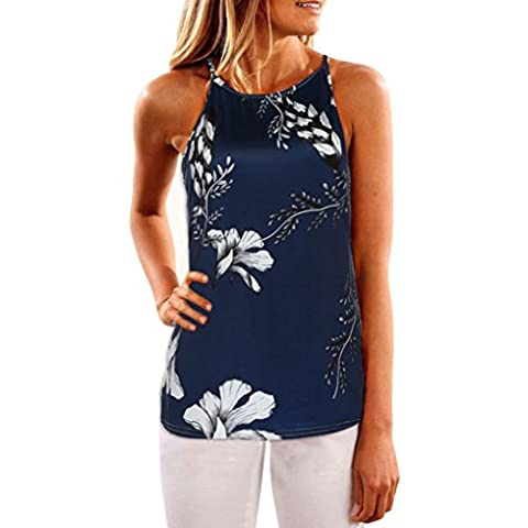 Jimmkey Women Sleeveless Flower Printed Tank Top Casual Blouse Vest T Shirt (L, Dark Blue)