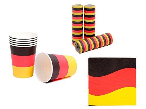 OFFERTA: Kit tifosi Germania (FP-44) Set da 21 pezzi: 3 x stelle filanti, 12 x tovaglioli di carta, 6 x bicchieri di plastica Deutschland nero rosso oro calcio eventi festa europei mondiali