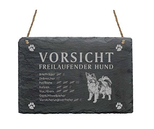 Schiefertafel « PAPILLON - VORSICHT FREILAUFENDER HUND » ca.22 x 16 cm - Schild mit Hund