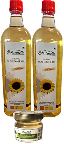 Farm Naturelle Organic Virgin Cold Pressed Sunflower Oil, 915ml (Pack of 2) and Honey, 40g