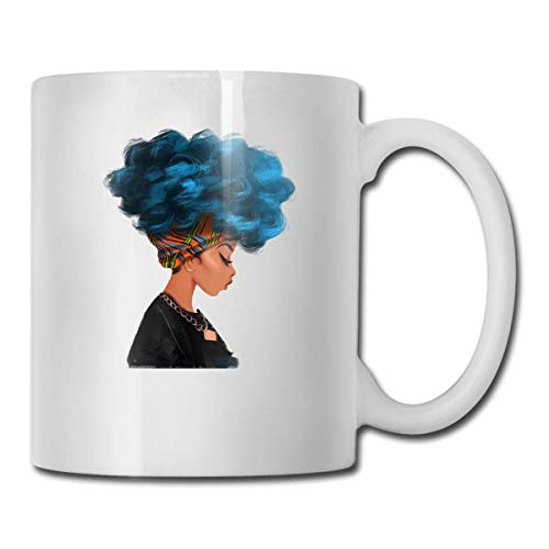 Daawqee Becher Coffee Mug Blue Hair Color African Woman Mug Funny Ceramic Cup for Coffee and Tea with Handle, White