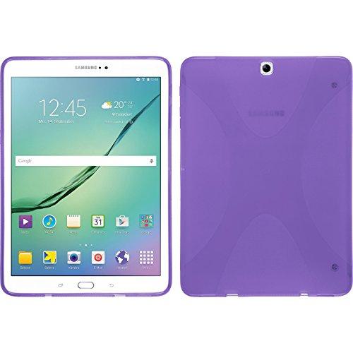 PhoneNatic Case kompatibel mit Samsung Galaxy Tab S2 9.7 - lila Silikon Hülle X-Style + 2 Schutzfolien - Lila S2 Case