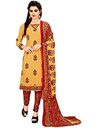 Om Tex Creation Women's Cotton Printed Salwar Suit - OTC711_Yellow And Red_Free Size