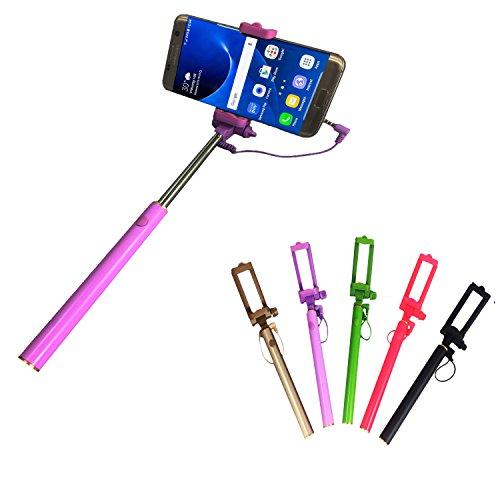 Selfie Stick | für MEDION LIFE E5020 | mit integriertem Selbstauslöser | ohne Akku | Mini und Zeitlos | Selfies 1 Lila