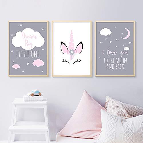 3 Affiches Tableaux Deco Murale Chambre Bebe Enfant Animaux Licorne Citations Nuage Posters Peinture sur Toile Decoration Cadeaux Fille Garcon NPTWC001-S