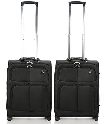 Aerolite 55x40x20 Taille Maximale Ryanair Bagage Cabine à Main Valise Souple Léger 2 Roulettes, Noir