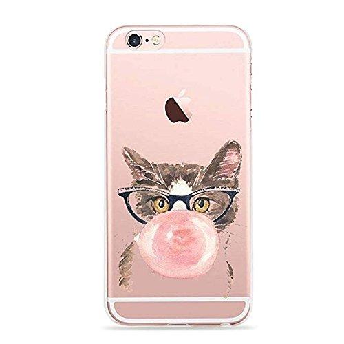 iPhone 6/6S, Art Malerei Süße Tier Serie Ultra Slim Silikon TPU Schutzhülle für Apple, Cute Cat with Bubble Gum -