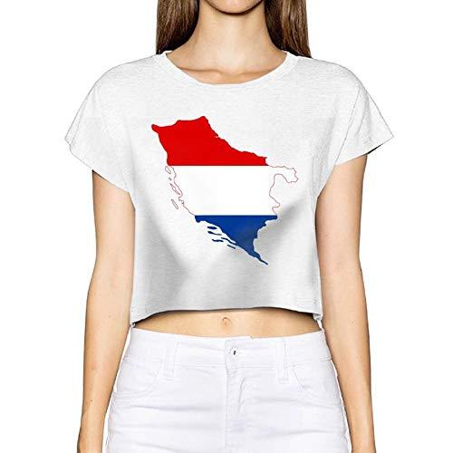 Frauen Sexy Revealed T-Shirt Kroaten Serben Flagge Karte Kurzarm Bluse Tops T Nabel (Medium, Weiß)