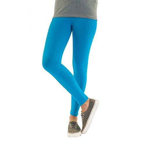 Bunte Mädchen Leggings lang aus Baumwolle Kinder Leggins in verschiedenen Farben und Muster, Farbe: Türkis, Größe: 92-98