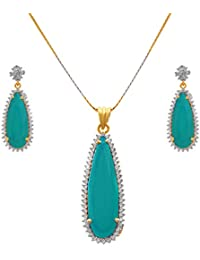 JFL - Fusion Ethnic One Gram Gold Plated Cz American Diamond Designer Pendant Set With Earring For Women & Girls