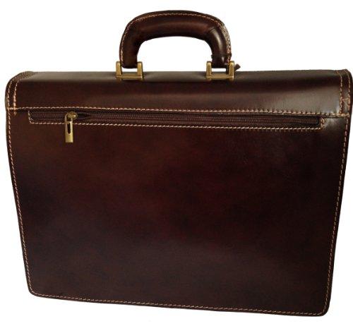 CTM-Beutel-Männer Brown 24 Stunden für die Dokumente, 41x31x18cm, 100% echtes Leder Made in Italy Dunkelbraun