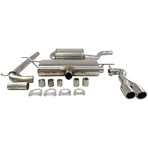 Super Sport acciaio inossidabile tubo di scappamento 63,5mm compatibile con Audi A3II 3+ 5porte, tipo (en) 8P, 1.6, 1.8, 2.0(Otto 75, 85, 92, 110kw), Bj. 03/03-, azionamento frontale, con ugello per aspirapolvere auto