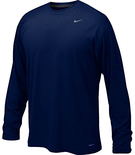 Nike Mens Legend Poly Long Sleeve Dri-Fit Training Shirt College Navy/Matte Silver 384408-419 Size Large (Golf Shirt Work)