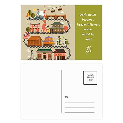 DIYthinker Montar tradicional japonesa Landshape Postal del mapa Poesía Conjunto Gracias tarjeta de correo lateral 20Pcs 5,7 pulgadas x 3,8 pulgadas Multicolor