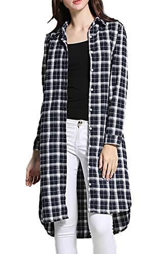 LISUEYNE Damen Langarmshirt mit Knopfleiste für Büro, formelle Freizeit, Lange Hemd, Bluse für Frauen Gr. Large, Blackts-16004 - Schwarzes Jersey, Drape-Ärmel Top