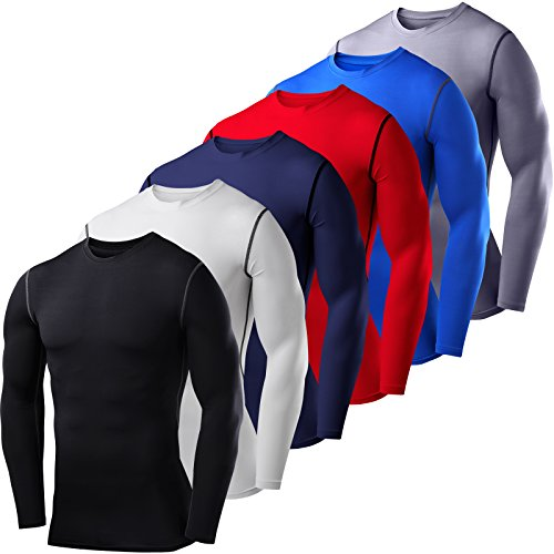 Mens PowerLayer Compression Base Layer / Baselayer Top Long Sleeve Under Shirt - Crew Neck / Mock Neck