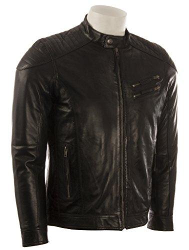 Blouson motard pour homme par MDK, ultra-doux et fait de cuir véritable avec épaules matelassées Noir