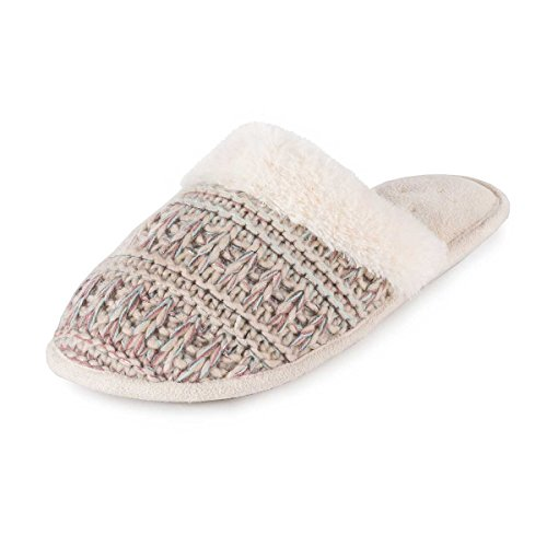 isotoner-ladies-knitted-pillowstep-mule-slippers-beige-pink-uk-size-6