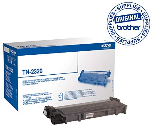 Brother TN2320 Toner Originale Alta Capacità, fino a 2600 Pagine, per Stampanti MFCL2700DW, MFCL2700DN, MFCL2720DW, MFCL2740DW, DCPL2500D, HLL2300D, HLL2340DW, HLL2365DW, HLL2370DN, Nero