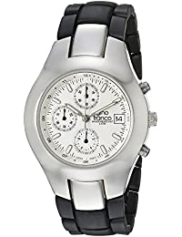 gino franco Men's 983SL Round Stainless Steel Chronograph with Black Ion-Plated Bracelet Watch