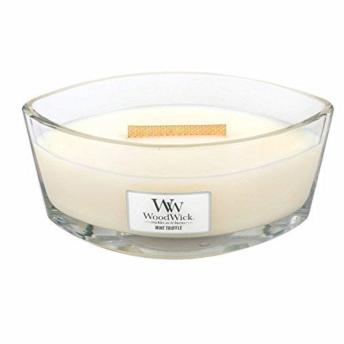 Minze Duftkerze (WoodWick Minze und Trüffelpraline Dekorative Duftkerze Im Ovalformigem Glasgefäß, 453.6 g, Glas, Weiß/durchsichtig, 11.4 x 9.8 x 8.8 cm)