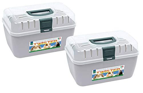 PETGARD 2er Sparpack Transportbox Twister für Kleintiere Nager Reptilien 29 x 19 x 18 cm Hellgrau