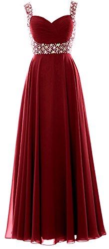 MACloth Women Straps Crystal Chiffon Long Prom Wedding Party Dress Evening Gown Burgunderrot