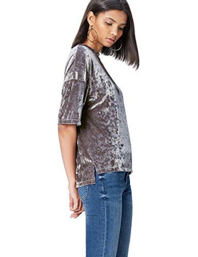 FIND Camiseta de Terciopelo para Mujer , Plateado (Silver), 38 (Talla del Fabricante: Small)