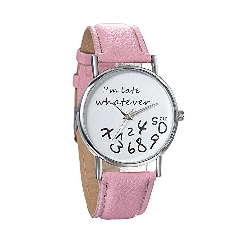 JewelryWe Damen Mädchen Armbanduhr, Whatever I'm Late Anyway Liebhaber Geschenk Analog Quarz Leder Armband Uhr mit Weißem Zifferblatt, Pink