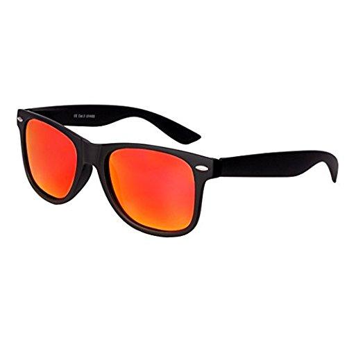 Geek-Stil mit gro/ßen Gl/äsern Unisex Sommer-Retro-Look verspiegelt Klarglas Runde Brille mit Metallrahmen