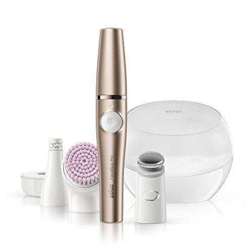 Braun FaceSpa Pro 921 3-in-1 Beauty Gerät für das Gesicht, mit Gesichtsepilierer, Reinigungsbürste, MicroVicrationsaufsatz und Aufbewahrungsbox, Akkubetrieb, bronze