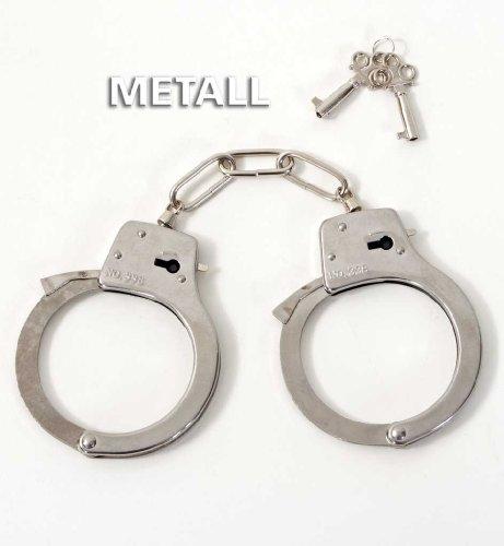 Fries 58389 Metall-Handschellen 2 Schlüssel Fasching Karneval Polizei Erwachsene