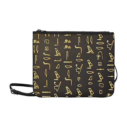 JEOLVP Ägyptische Hieroglyphen Muster Benutzerdefinierte hochwertige Nylon Slim Clutch Crossbody Tasche Umhängetasche