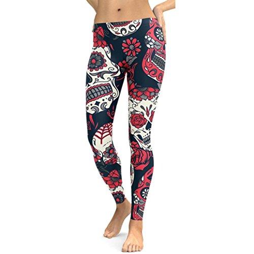 Sport Leggings Damen,Dasongff Damen Trainingshose Gedruckt Strumpfhose Gym Yoga Running Fitness Leggings Pants Workout Leggings Yogahosen Sweat Hosen (XL, Rot) (Weiche Trainingshose Damen)