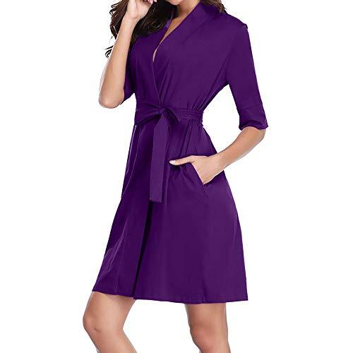 ZIYOU Damen 1/2 Hülse Robe Weiche Kimono Bademantel Stricken Baumwolle Bademantel Loungewear Nachtwäsche(Violett,X-Large) - Stricken Kimono-robe