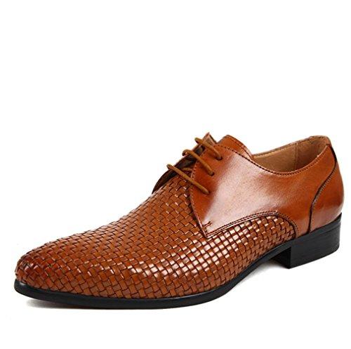 Heart&M in vera pelle da uomo casual shoes pointed toe in pelle pizzo-up scarpe fatti a mano Brown
