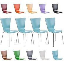 CLP 4x sillas apilables AARON, asiento de madera, superficie ergonómica, color a elegir azul claro