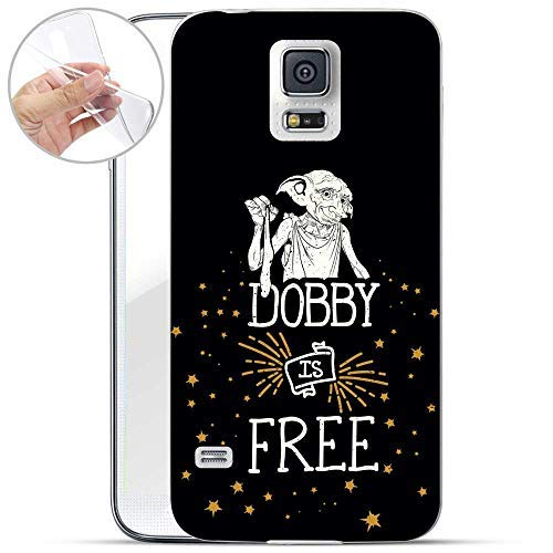 Finoo | Handyhülle kompatibel für Samsung Galaxy S5 Weiche Flexible lizensiertes Harry Potter Cover | Transparentes TPU Case mit Motiv | Dobby ist frei (S5 Case Potter Harry Galaxy Phone)