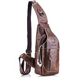Para Hombres Bolso Mochila de Pecho cuero, Charminer Bolso Pecho Bolso bandolera Bolsa Pecho Bolso Deportivo Bolsa Sling CrossBody Messenger Bag