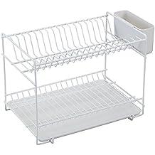 Sauvic 89000 - Escurreplatos pequeño plastificado,color blanco, 38,5 x 25 x 28 cm